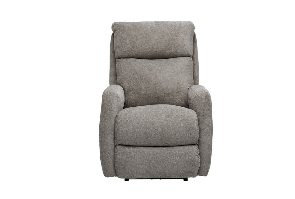 Hopkin Taupe Micro Power Recliner With Heat And Massage