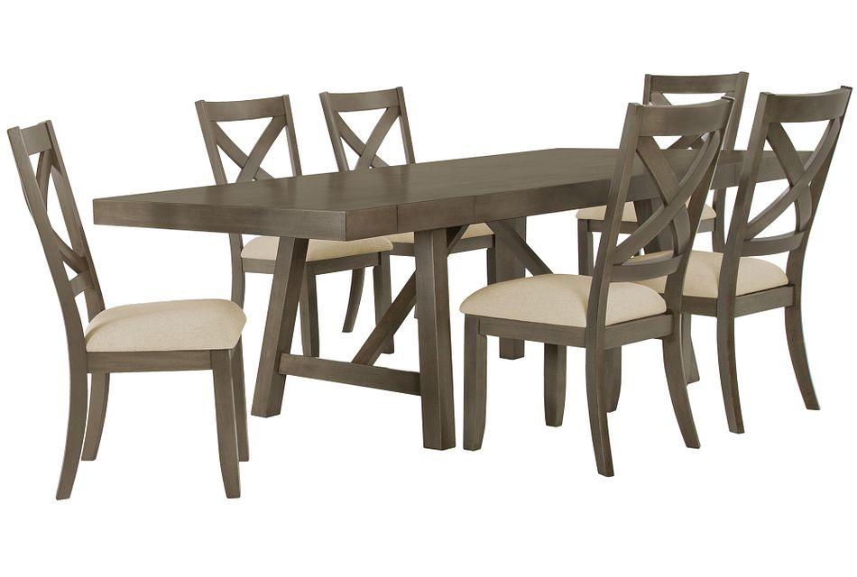 Omaha GRAY RECT Table & 4 Wood Chairs