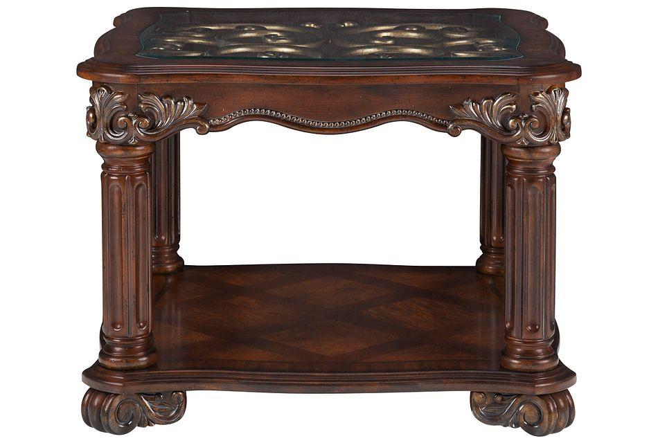 Regal Dark Tone Glass End Table