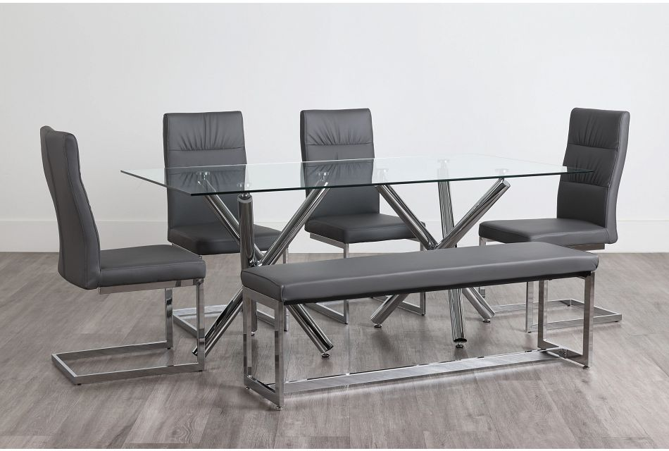 Quincy Glass Gray Table, 4 Chairs & Bench,  (0)