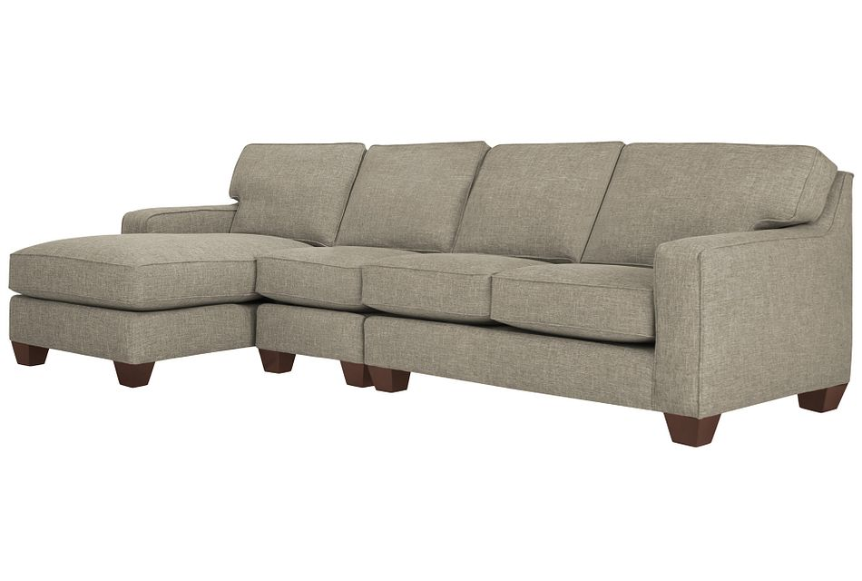York Pewter Fabric Small Left Chaise Sectional