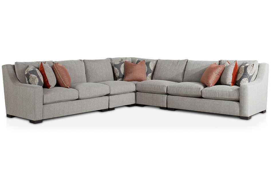 Germaine Gray Fabric Large Two-arm Sectional