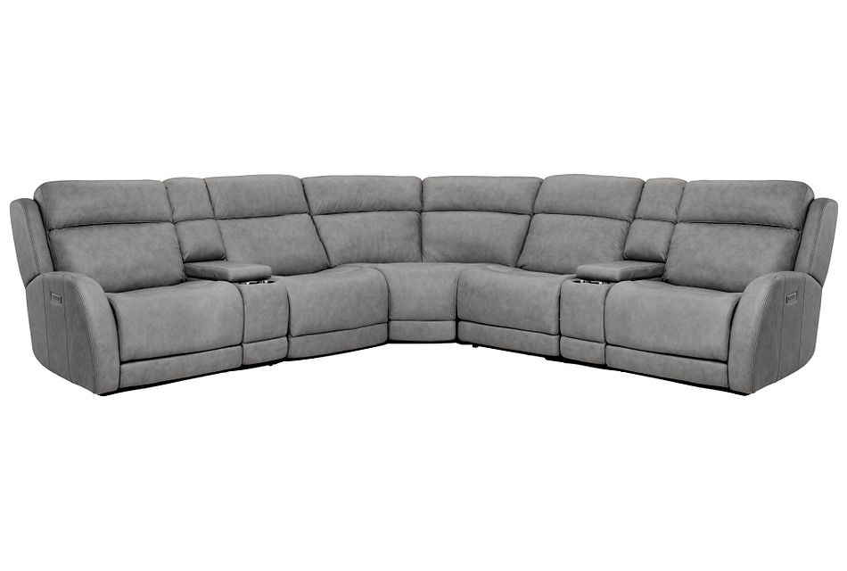 Rawlings Dark Gray Leather Large Dual Power Reclining Two-arm Sectional
