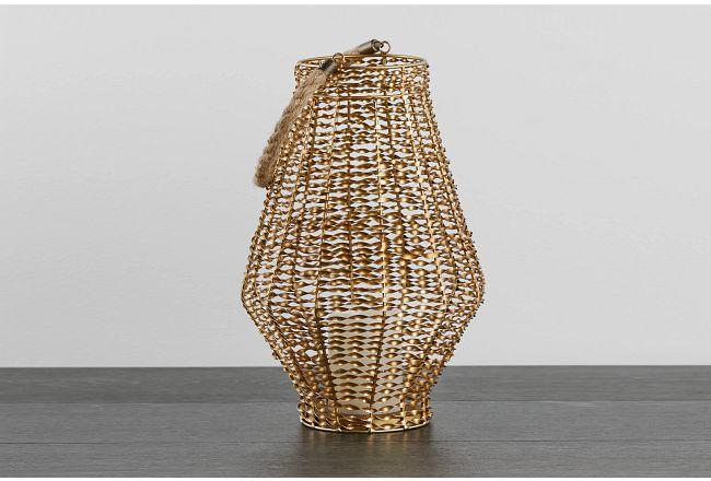 Hedi Brown Woven Lantern