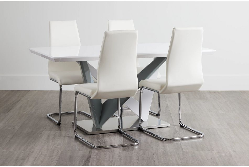 Lennox White Rect Table & 4 Upholstered Chairs