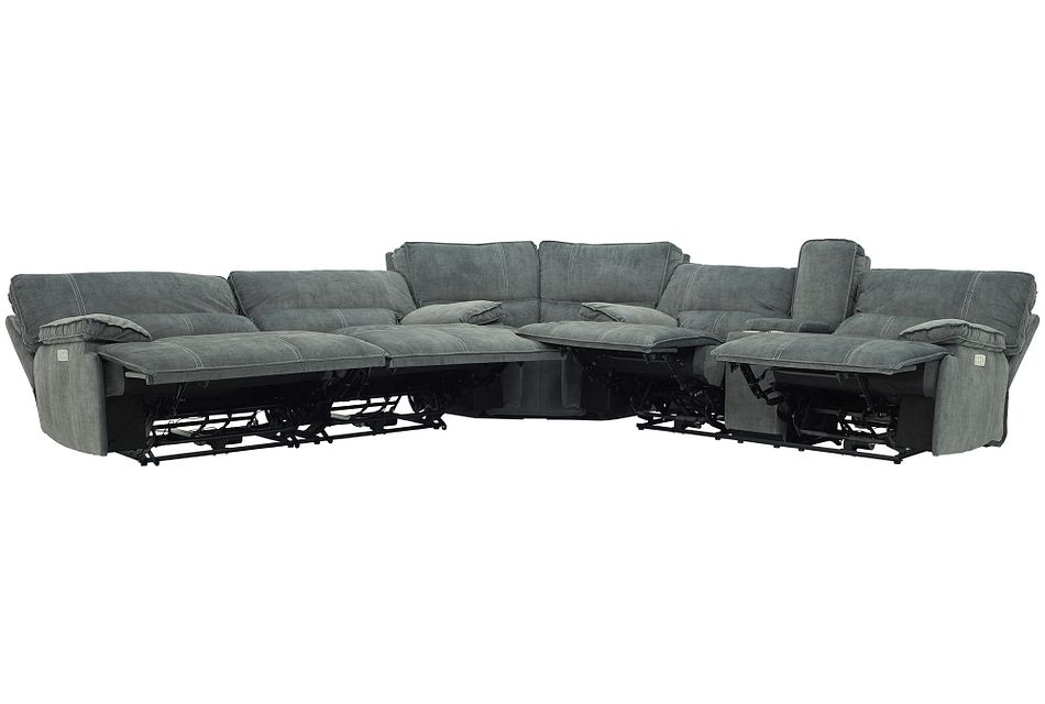 Jesse Dark Gray Micro Two-Arm Power Reclining Sectional,  (2)