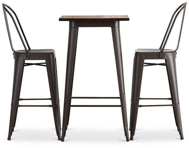 Harlow Dark Tone Pub Table & 2 Metal Barstools (2)