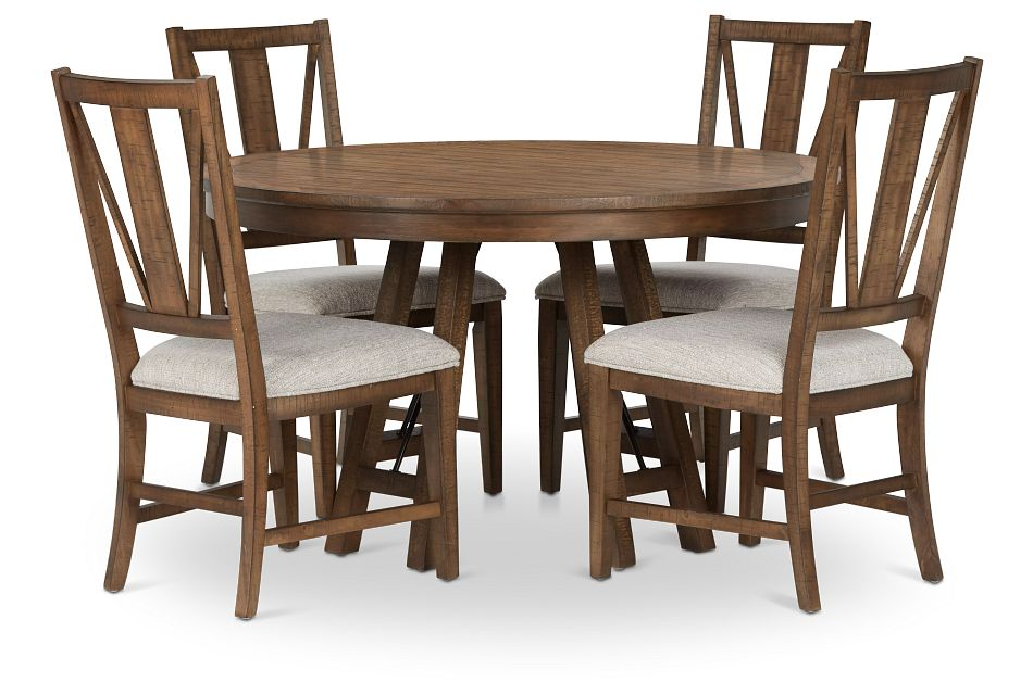 Heron Cove Mid Tone Round Table & 4 Upholstered Chairs