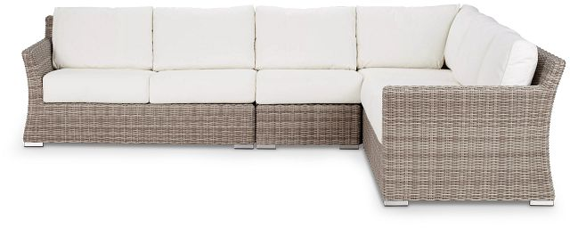 Raleigh White Woven Large Two-arm Sectional (1)
