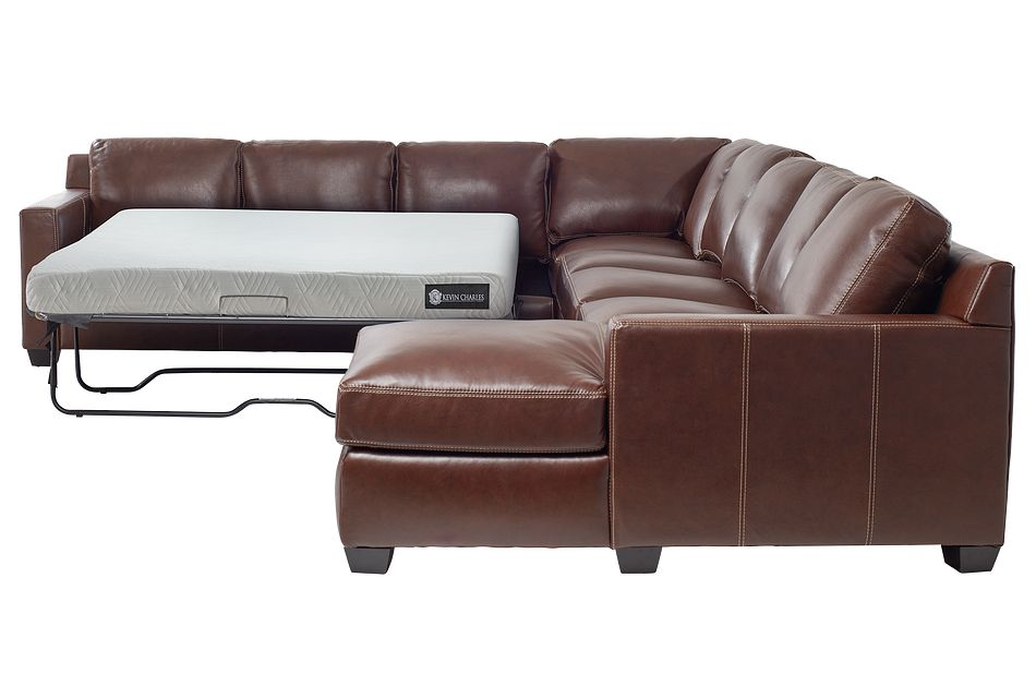 Carson Medium Brown Leather Large Right Chaise Memory Foam Sleeper Sectional