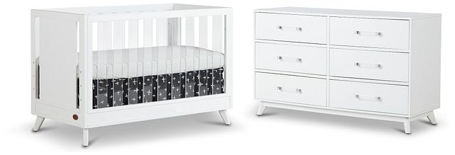 Kayson White Acrylic Crib Bedroom