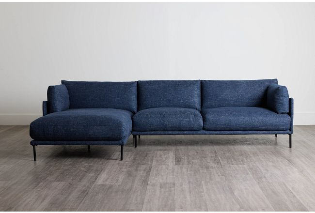 Oliver Dark Blue Fabric Left Chaise Sectional