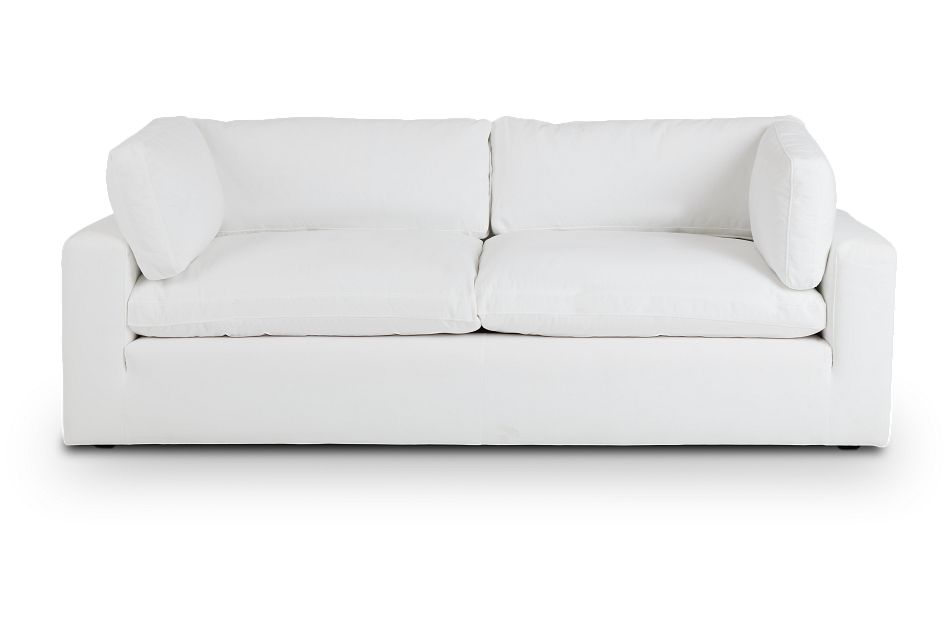 Grant White Fabric Sofa,  (1)