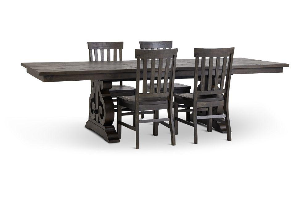 Sonoma Dark Tone Trestle Table & 4 Wood Chairs,  (3)