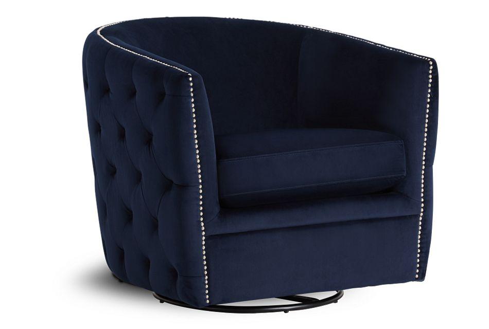 Naomi Dark Blue Micro Swivel Accent Chair,