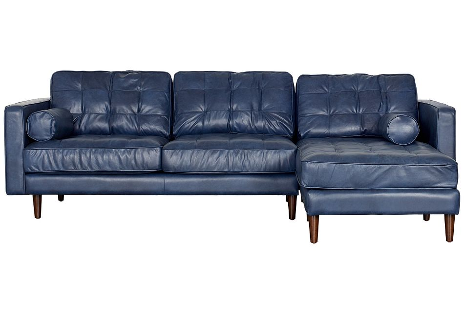 Encino Dark Blue Leather Right Chaise Sectional