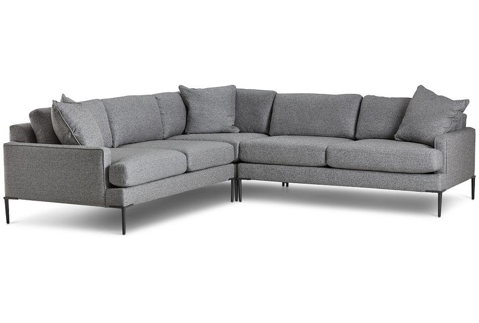 Morgan Dark Gray Fabric Medium 2-arm Sectional W/ Metal Legs