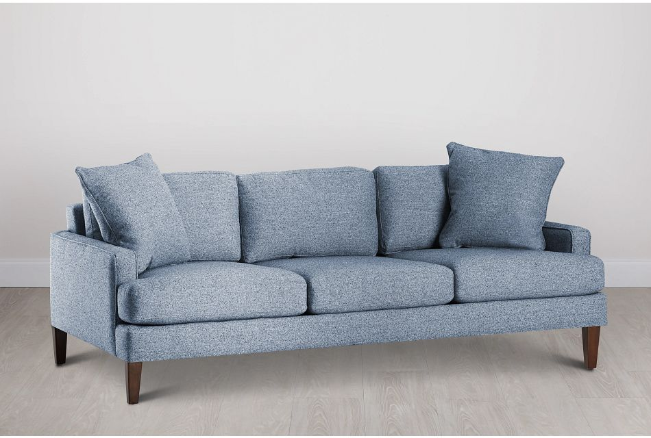 Morgan Blue Fabric Sofa With Wood Legs