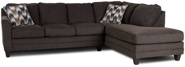Charlie Dark Gray Fabric Right Bumper Sectional (1)