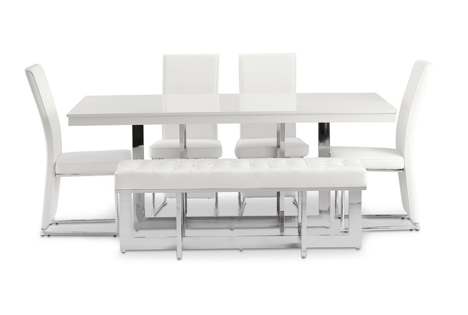 Cortina White Table, 4 Chairs & Bench
