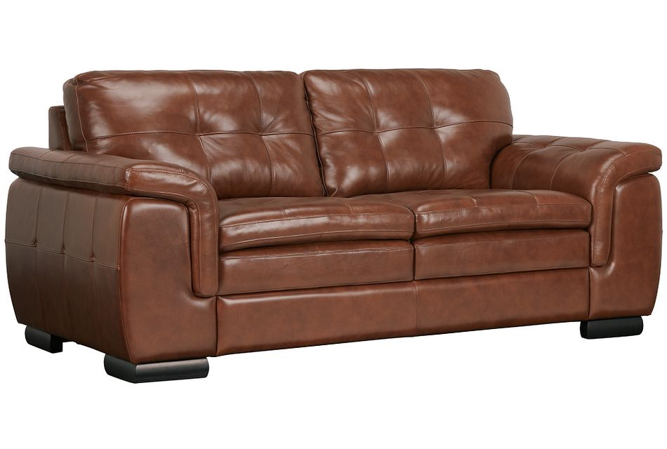 Trevor Medium Brown Leather Loveseat