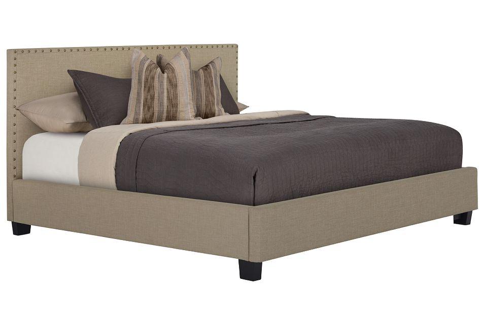 Holden Taupe Uph Platform Bed
