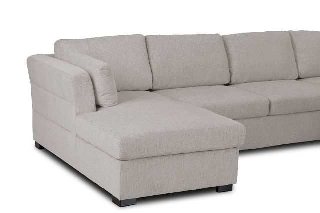 Amber Light Gray Fabric Large Left Chaise Sleeper Sectional