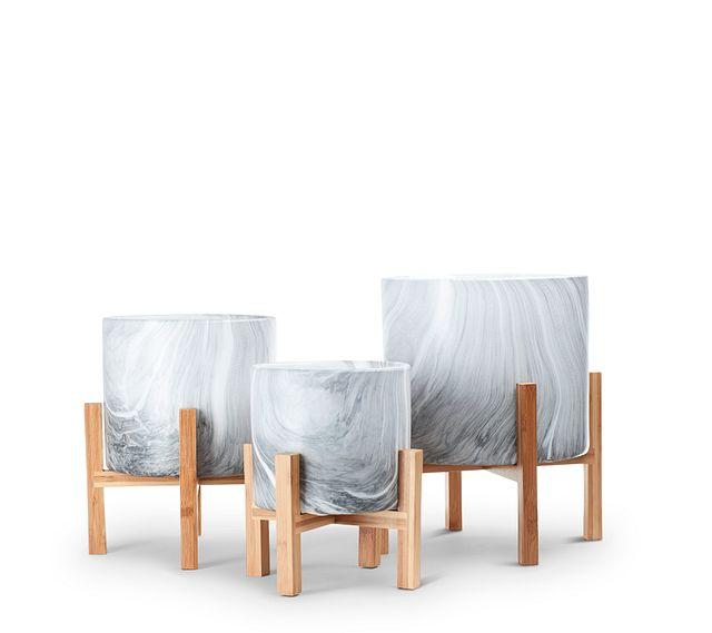 River Ceramic Set Of 3 Planter (0)