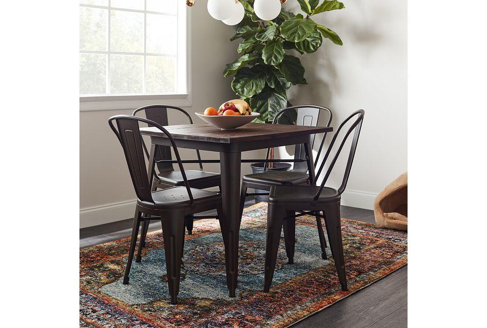 Harlow Dark Tone Square Table & 4 Metal Chairs