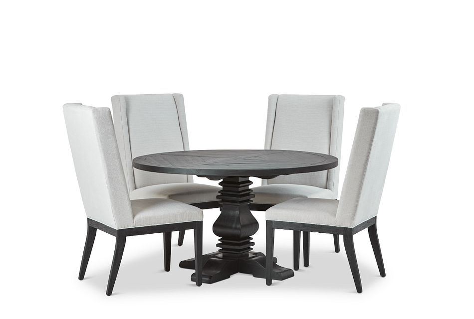 """Hadlow Black 54"""" Table & 4 Upholstered Chairs"""