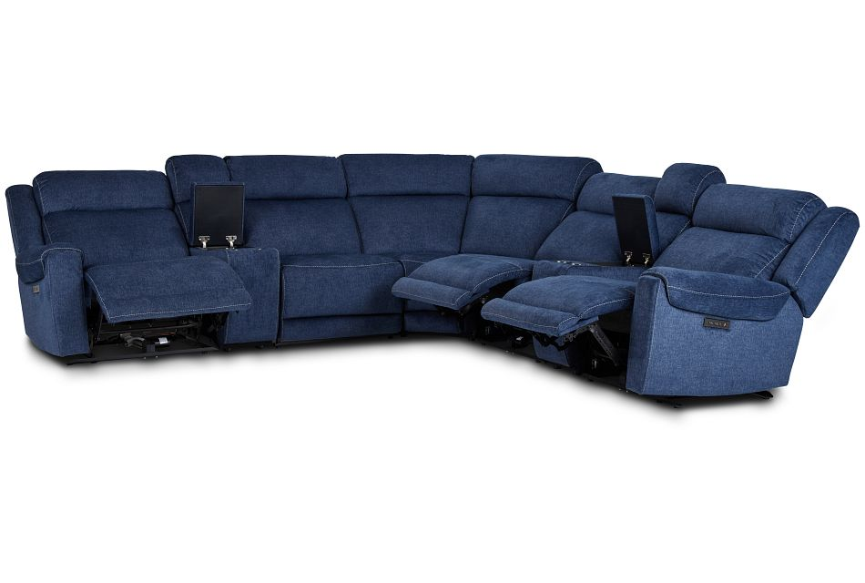 Beckett Dark Blue Micro Large Triple Power Reclining Two-Arm Sectional,  (3)