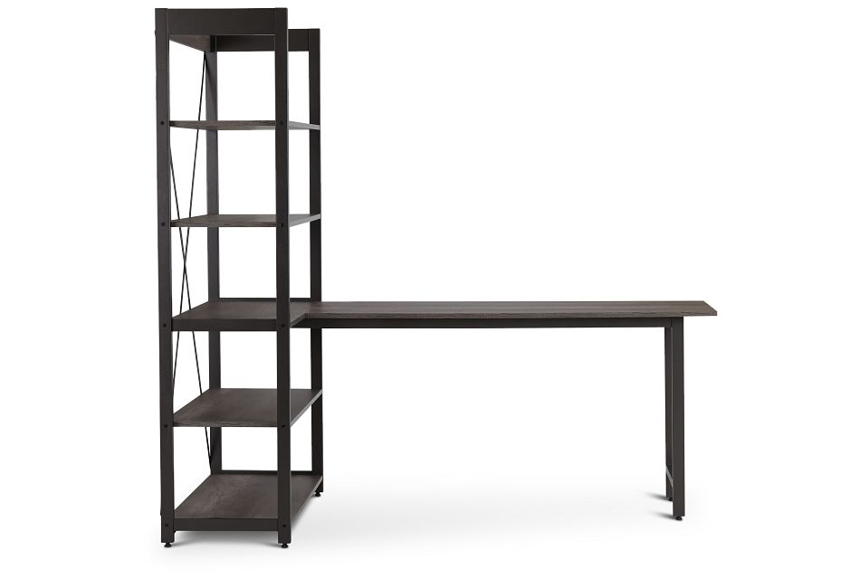 Milton Gray Desk & Bookcase,  (1)