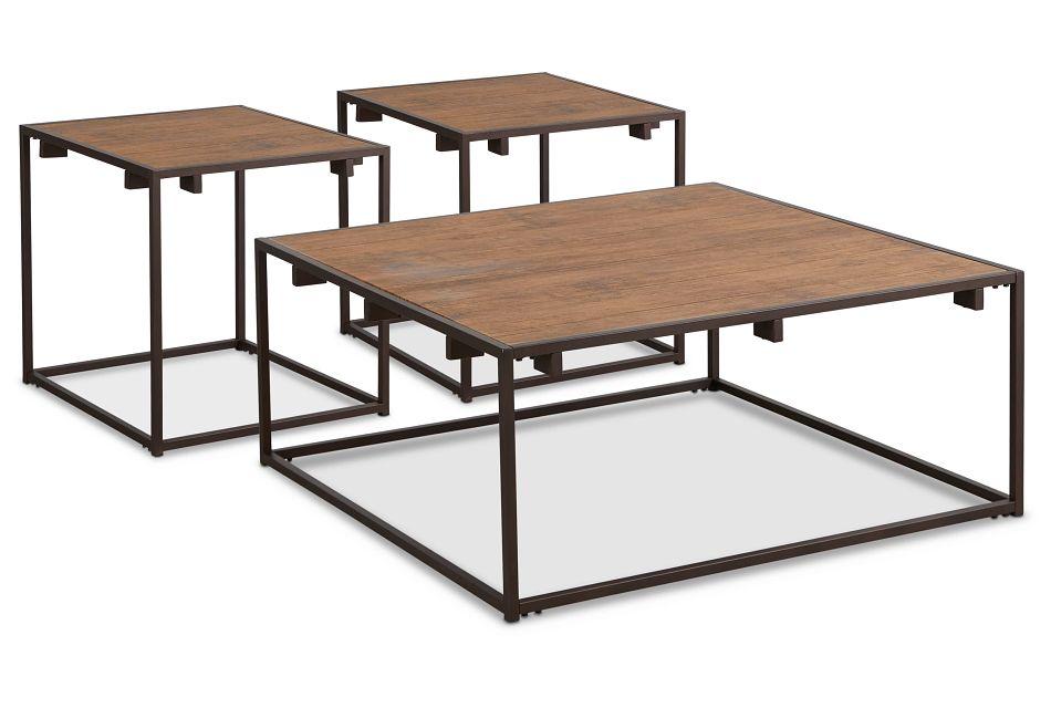 Reggie Dark Tone Square 3 Pack Tables