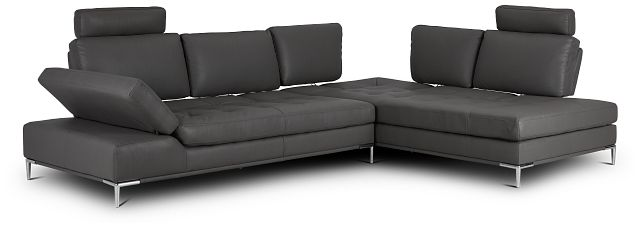 Camden Dark Gray Micro Right Chaise Sectional With Removable Headrest (2)