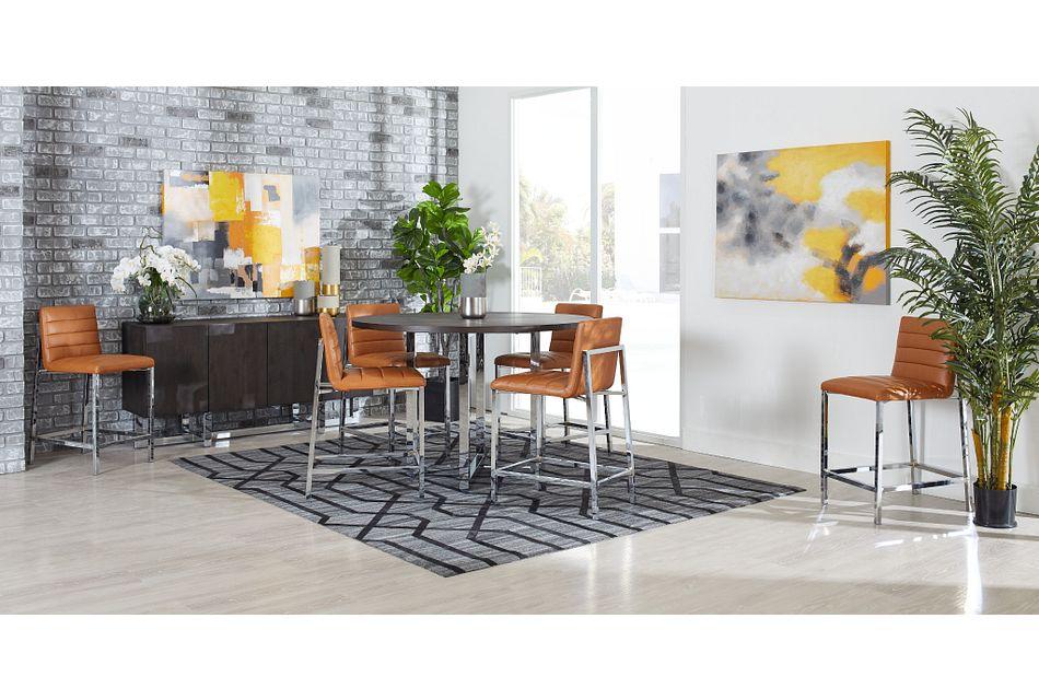Amalfi BROWN WOOD High Table & 4 Upholstered Barstools,  (1)
