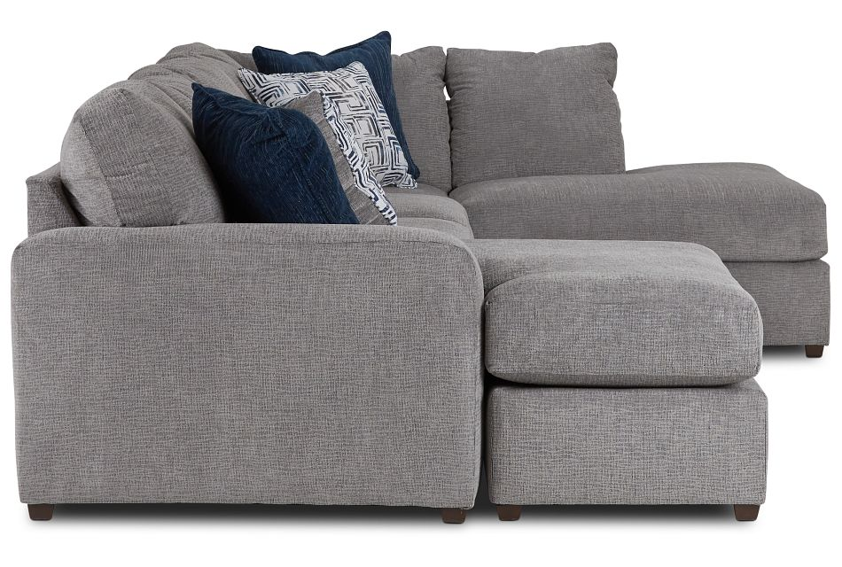 Banks Gray Fabric Right Bumper Sectional,  (3)