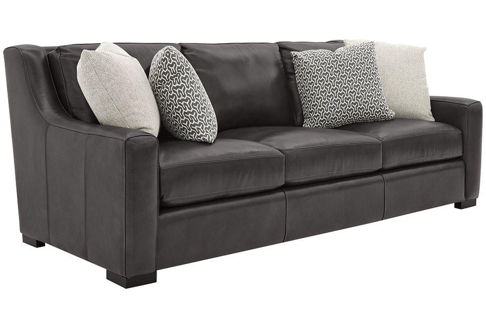 Germaine Dark Gray Leather Sofa