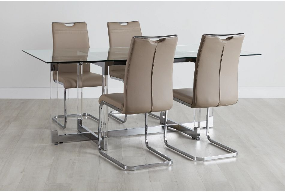 Denmark Taupe Table & 4 Upholstered Chairs,  (0)