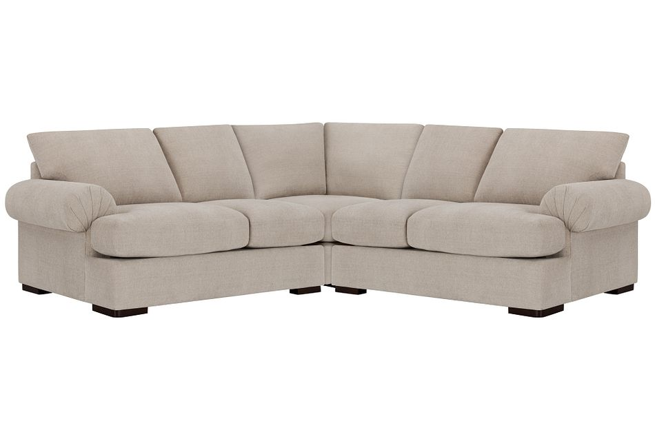 Belair Light Taupe  FABRIC Small Two-Arm Sectional