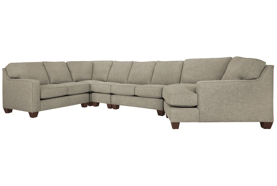 York Pewter Fabric Large Right Cuddler Sectional