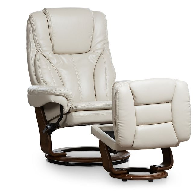 Perkins Taupe Micro Recliner & Ottoman (1)