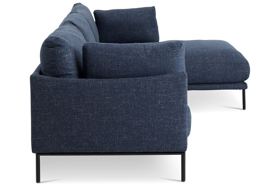 Oliver Dark Blue Fabric Right Chaise Sectional,  (2)