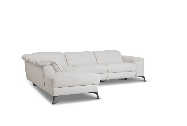 Pearson White Leather Left Bumper Sectional