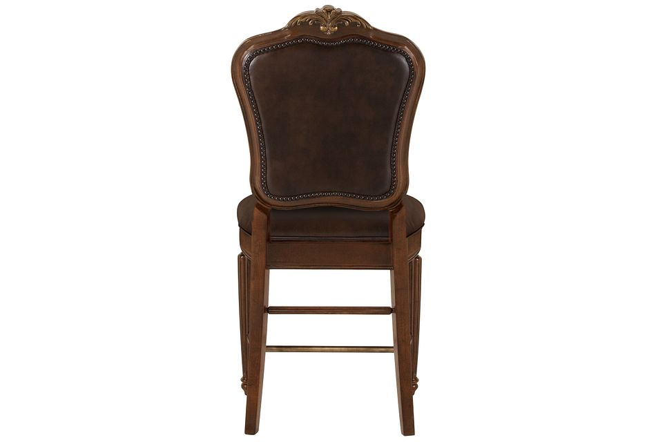"Regal Dark Tone  24"" Leather Barstool"