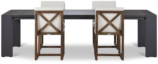 """Linear Dark Gray White 110"""" Aluminum Table & 4 Teak Cushioned Side Chairs (2)"""