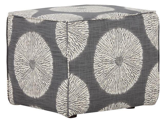 Shibori Gray Fabric Accent Pouf (0)