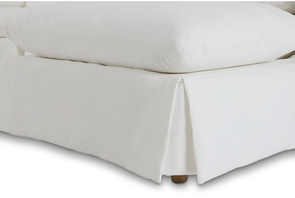 Raegan White Fabric Small Right Chaise Sectional