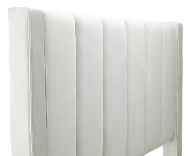Audrey Beige Velvet Platform Bed (2)