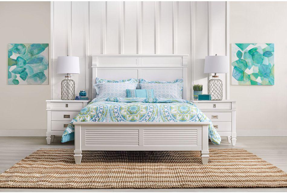Marina White Panel Bed