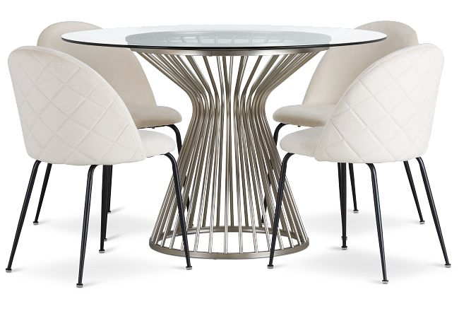 Munich Silver Glass Table & 4 Upholstered Chairs